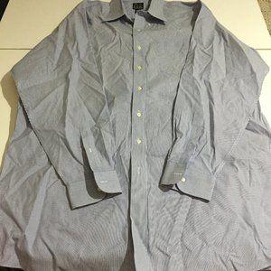JoS. A. Bank Mens Blue Striped Dress Shirt Size 18
